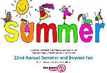 Children jumping over the word summer