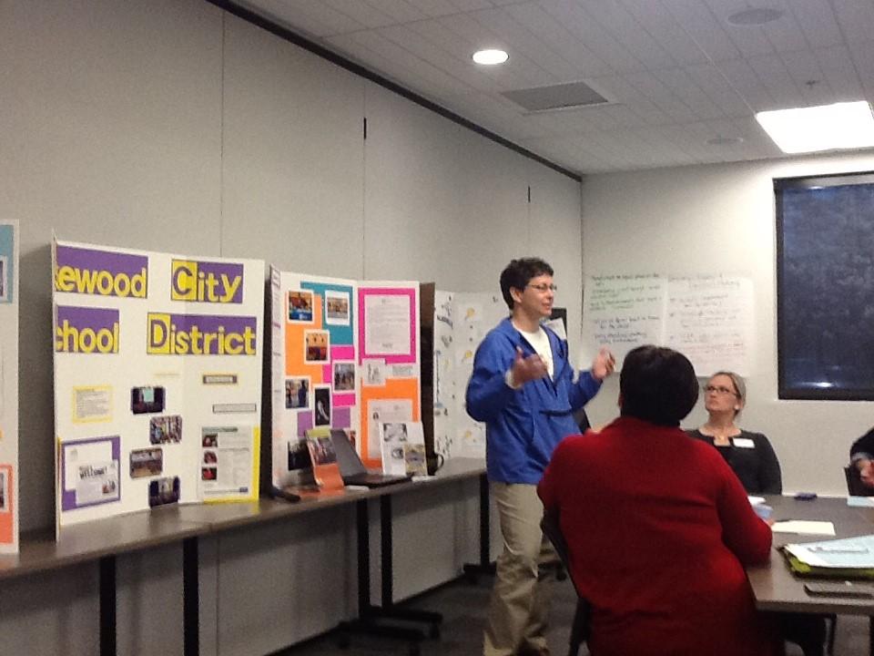 Lakewood City School parent representative presents