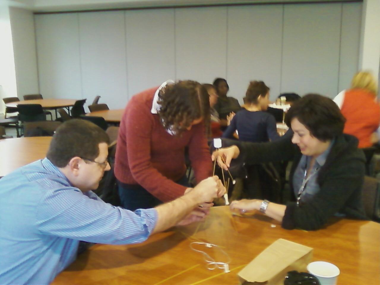 Parent Representatives work through Marshmallow Challenge