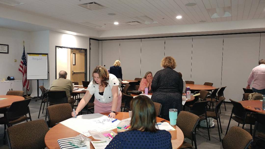 Participants develop their Literacy Info-graphic