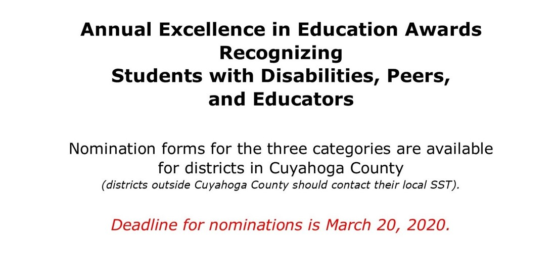 Nomination form deadline for Excellence in Education