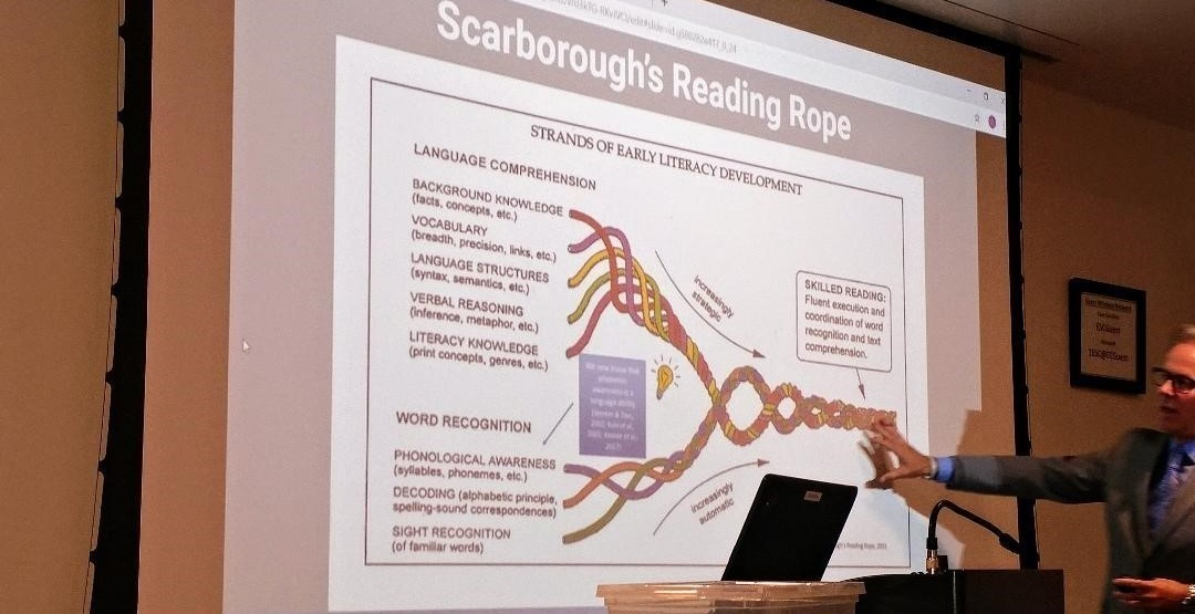 Instructor points to Scarborough's Literacy Rope