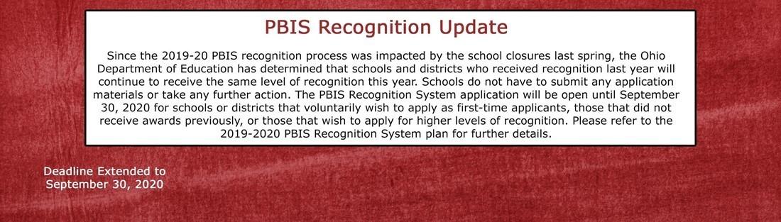PBIS Recognition Update information
