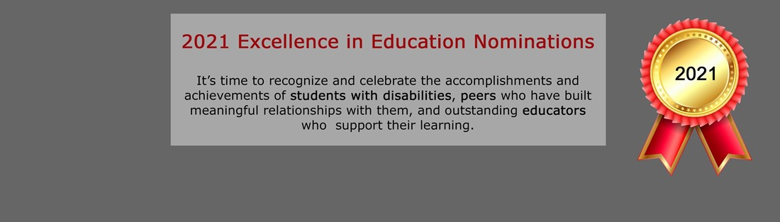 Image of an award ribbon and text describing the Excellence in Education Awards process