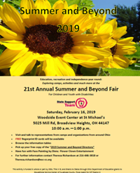Large yellow sunflower above 21st Annual Summer and Beyond Fair