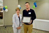 SST3 Assistant Director, Susan Schraff, gave Franklin B. Walter Award to Jordan Eaton - Olmsted Falls City Schools.